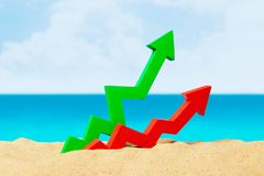Beach sea and arrow chart up in the sand. The concept of sales growth, growth in prices in the turistic season. Beach sea and arrow chart up in the sand. The Royalty Free Stock Image