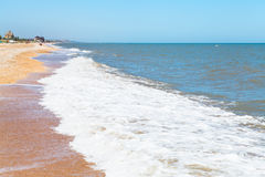 Beach of Sea of Azov in settlement Golubickaya Royalty Free Stock Image