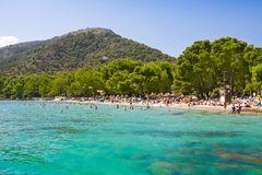 Beach sea bay turquoise water mountain view , Cala Pi de La Posada, Majorca, Spain Stock Photos