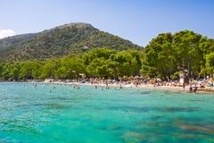 Beach sea bay turquoise water mountain view , Cala Pi de La Posada, Majorca, Spain stock photos