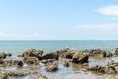 Beach and sea with blue sky and reef rock beach Stock Images
