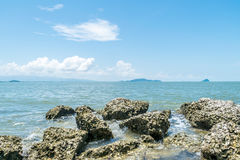 Beach and sea with blue sky and reef rock beach Royalty Free Stock Image