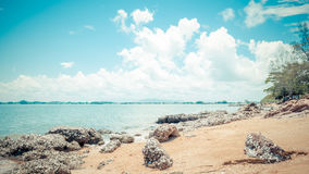 Beach and sea with blue sky and reef rock beach Stock Photos