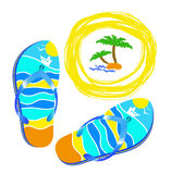 Beach, sea and bright beach shoes. Stock Photo