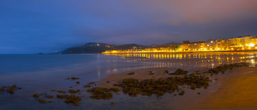 Beach and sea in the city of Zarautz. Stock Image