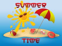 Summer conceptual banner of summer time with beach elements on the beach. Royalty Free Stock Photography
