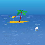 Beach on the sea color vector. Illustration Royalty Free Stock Photos