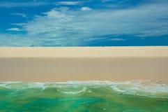 Beach, sea and deep blue sky Stock Images