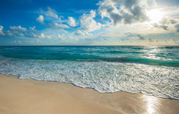 Beach, sea and deep blue sky Royalty Free Stock Photography