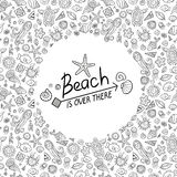 Beach and sea doodles Royalty Free Stock Images