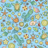 Beach and sea doodles Royalty Free Stock Photography