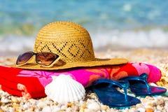 Beach and sea elements. At the sunny sea Stock Photos