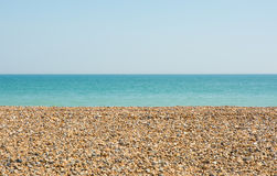 Beach and sea at Ferring, Worthing, England. Shingle beach and sea at Ferring near Worthing, West Sussex, England Royalty Free Stock Photography
