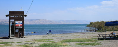 A Beach on Sea of Galilee or Lake Tiberias Stock Images