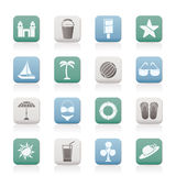 Beach, sea and holiday icons Royalty Free Stock Images