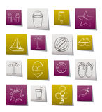 Beach, sea and holiday icons Stock Images