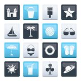 Beach, sea and holiday icons over color background. Vector icon set royalty free illustration