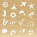 Beach with sea icons Royalty Free Stock Photography
