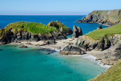 Beach and sea at Kynance Cove. Beach and clear blue sea at Kynance Cove, Cornwall Royalty Free Stock Photo