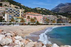 Beach and Sea in Menton Town on French Riviera Royalty Free Stock Photos