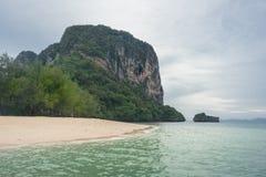 Beach, sea and mountain on Poda island in Krabi, Thailand Royalty Free Stock Photography