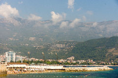 Beach, sea and mountains in Budva, Montenegro Royalty Free Stock Images