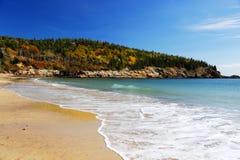 Beach and sea near autumn hill Royalty Free Stock Photo