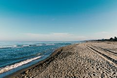 Beach and sea panorama. Nobody royalty free stock photography