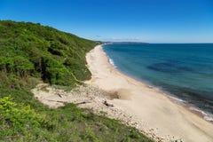 The beach of sea resort Obzor, Bulgaria Royalty Free Stock Photography