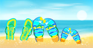 Beach, Sea,sand And Bright Beach Shoes.Summer Background. Royalty Free Stock Image