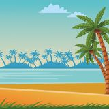 Beach and sea scene. With palm leaves seascape colorful vector illustration graphic design vector illustration