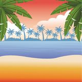 Beach and sea scene. With palm leaves seascape colorful vector illustration graphic design royalty free illustration