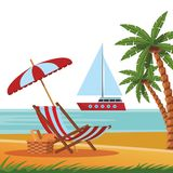 Beach and sea scene. With palm tree sailboat chair umbrella wicker basket vector illustration graphic design royalty free illustration