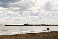Beach, sea and sky with clouds. Royalty Free Stock Photography