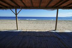 Beach,sea and sky view. With wood roof Stock Photography
