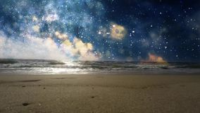 The beach with the sea and space on the horizon.  stock footage