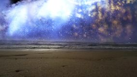 The beach with the sea and space on the horizon.  stock video footage