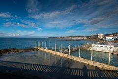 Rosignano Solvay, Leghorn, Tuscany - Italy. The beach and the sea in the stretch that goes from cuttlefish to the port of boats of the small town of Rosignano royalty free stock photography