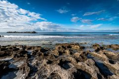 Rosignano Solvay, Leghorn, Tuscany - Italy. The beach and the sea in the stretch that goes from cuttlefish to the port of boats of the small town of Rosignano royalty free stock images