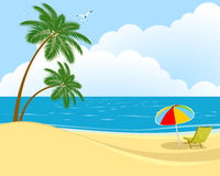 Beach, sea and sun lounger Royalty Free Stock Images