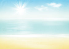 Beach and sea with sunny sky. Abstract retro background Stock Image
