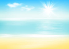 Beach and sea with sunny sky. Abstract background Stock Image