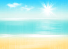 Beach and sea with sunny sky Stock Photography