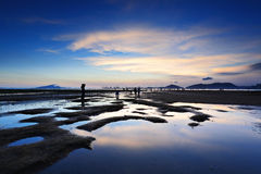 Beach and sea sunset in Pak Nai Royalty Free Stock Photography