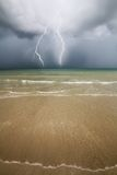Beach, sea and Thunder storm. Royalty Free Stock Photography