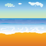 Beach and sea vector illustration. Art color Royalty Free Stock Photo