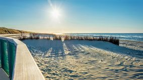 Beach Sea View In The Evening Sun. And Mud Flat In Background Stock Photo