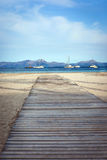 Beach and sea view , Mallorca. Beach and sea view in Alcudia, Mallorca, Spain Royalty Free Stock Photography