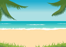 Beach, sea, waves, palms Royalty Free Stock Photo