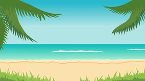 Beach, sea, waves, palms. Animation of tropical landscape - beach, sea, waves, palms stock footage